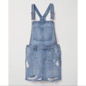 H&M Denim Distressed Overall Jumper Dress 4